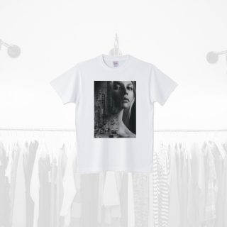 Tシャツデザイン − 女性と都会